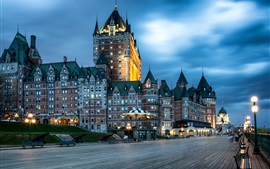 Preview wallpaper Canada, Quebec, city night, buildings, street, lights