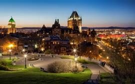 Canadá, Quebec, ciudad, noche, camino, luces