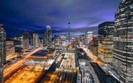 Preview wallpaper Canada, Toronto, city, night, roads, skyscrapers, lights