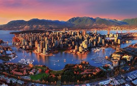 Canada, city, skyscrapers, sea, boats, houses, mountains