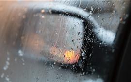 Vorschau des Hintergrundbilder Rückspiegel des Autos, Regen, Wassertröpfchen