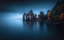 壁紙のプレビュー 城、湖、夕暮れ