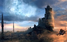 Preview wallpaper Castle, ship, space, planet, sci-fi, art picture
