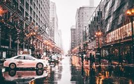 Chicago, EUA, cidade, rua, neve, estrada molhada, carros, inverno, luzes, crepúsculo
