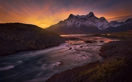 Preview wallpaper Chile, Patagonia, Paine River, mountains, sunset