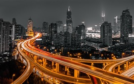 Preview wallpaper China, Shanghai, roads, light lines, night, city