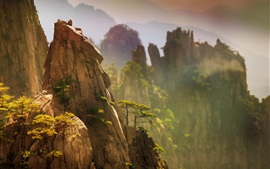 Preview wallpaper China, beautiful nature landscape, pine, mountains, cliff