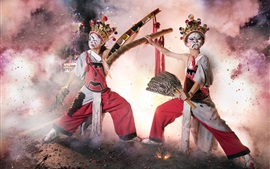 Chinese culture, dance, mask, firecracker