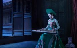 Китайская девушка играет Guzheng, ретро стиль