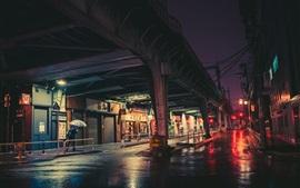 Preview wallpaper City night, Tokyo, Japan, street, rail bridge, lights