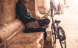 City, street, girl, bike, notebook