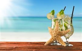 Coquetel, mojito, limão, estrela do mar