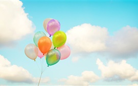 Preview wallpaper Colorful balloons, sky, clouds