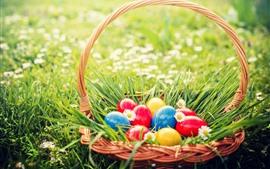 壁紙のプレビュー カラフルな卵、バスケット、草、花、春、イースター