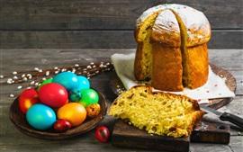 Huevos coloridos, pastel, comida de Pascua