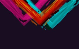 Colorful paint angles, black background, abstract