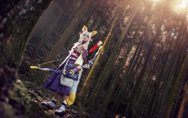 Cosplay fox elf girl, ears, bow, forest