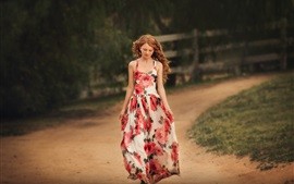 Preview wallpaper Curly hair girl, walk, road, skirt, summer