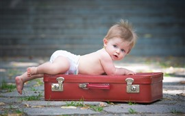 Preview wallpaper Cute baby boy and suitcase