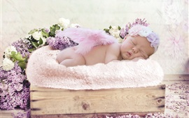 Preview wallpaper Cute baby in sleeping, little wings, lilac flowers