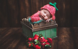Preview wallpaper Cute baby sleeping, box, strawberry