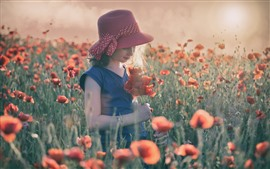 Preview wallpaper Cute little girl, red poppies flowers