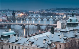 Preview wallpaper Czech Republic, Prague, cityscape, winter, snow, bridge, river