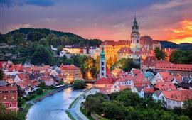 Aperçu fond d'écran République tchèque, rivière Vltava, ville, coucher de soleil
