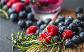 Preview wallpaper Delicious berries, raspberry, blueberries