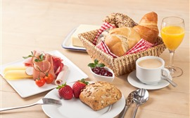Preview wallpaper Delicious breakfast, bread, strawberry, juice