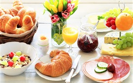 Preview wallpaper Delicious breakfast, croissants, jam, grapes, orange, juice, eggs, tulips