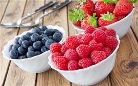 Fruta deliciosa, fresa, arándano, frambuesa