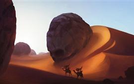 Preview wallpaper Desert, dunes, camels, art picture
