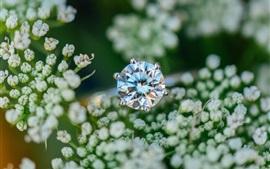 Preview wallpaper Diamond ring, little flowers