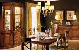 Preview wallpaper Dining room, table, furniture, lights, interior
