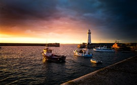 Preview wallpaper Donaghadee, UK, boats, sea, lighthouse, sunset
