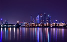 Preview wallpaper Dubai, UAE, city night, skyscrapers, river, water reflection, lights