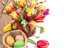 Preview wallpaper Easter, cup, colorful tulip flowers, eggs