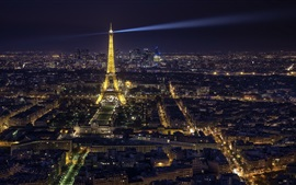 Eiffel Tower, city night, illumination, Paris, France