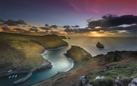 England, Cornwall, Boscastle Harbour, sea, coast, clouds, sunset