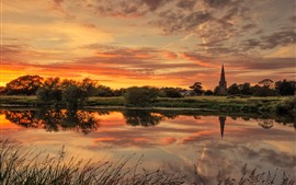 Preview wallpaper England, Trent River, church, trees, clouds, sunset