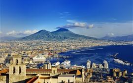 Европа, Италия, Неаполь, побережье, город