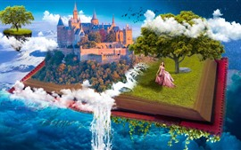 Preview wallpaper Fantasy, book, castle, tree, girl, waterfall, creative design
