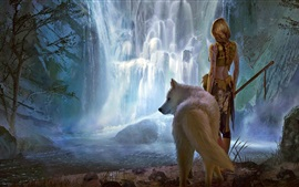 Preview wallpaper Fantasy girl and wolf, waterfall, art picture