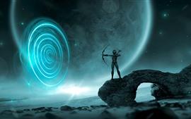 Aperçu fond d'écran Fille de fantaisie, archer, arc, planète, espace, photo d'art