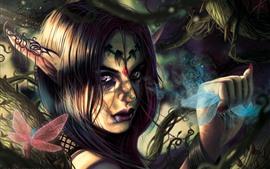 Preview wallpaper Fantasy girl, elf, purple eyes