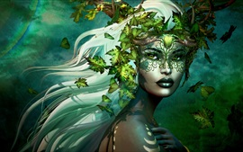 Preview wallpaper Fantasy girl, leaves, white hair