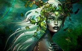 Fantasy girl, leaves, white hair