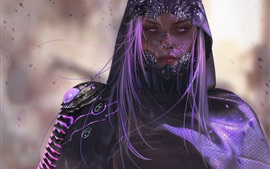 Fantasy girl, purple hair and eyes