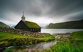 Preview wallpaper Faroe Islands, Church, sea, Denmark
